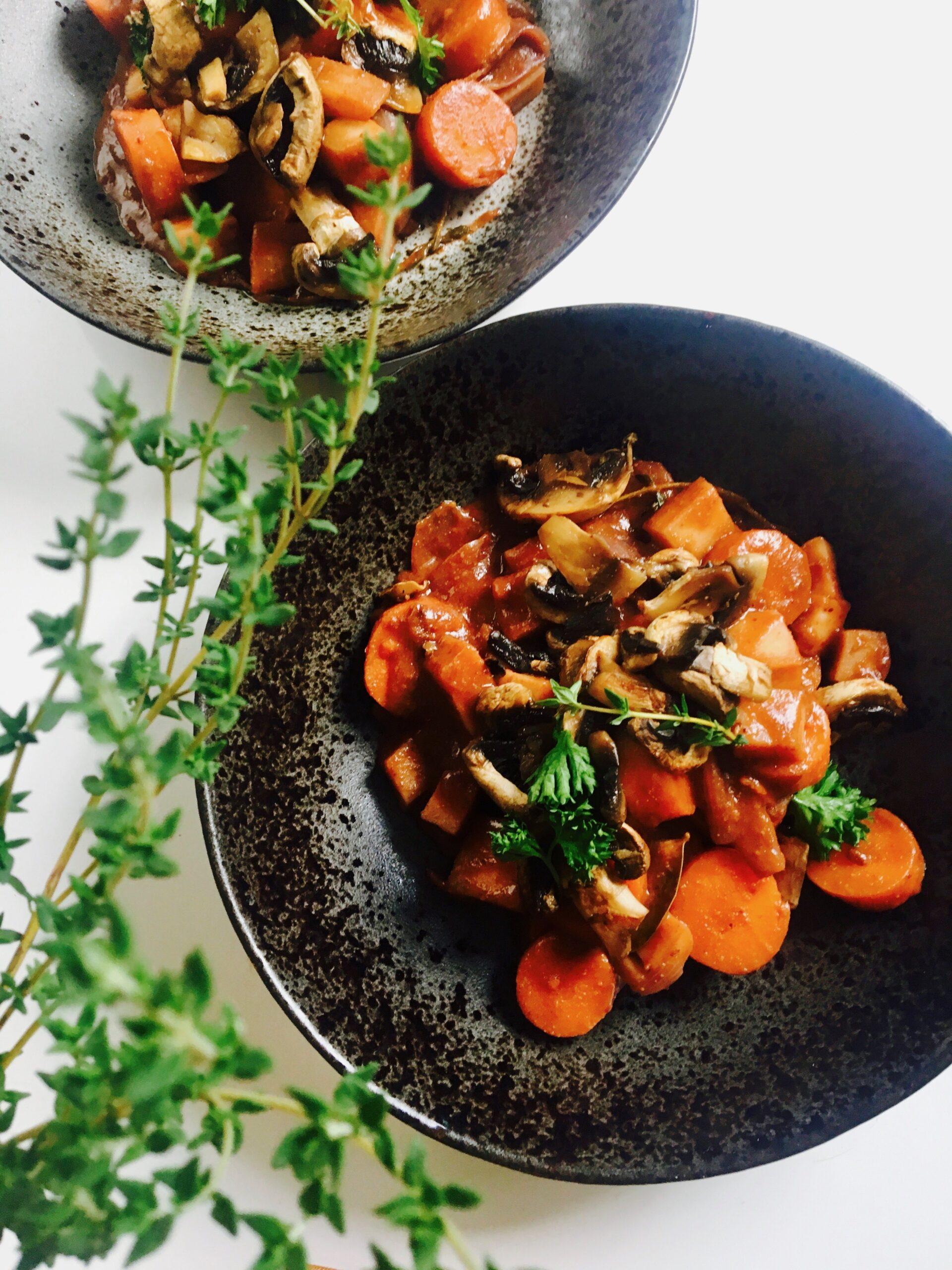vegetarische bourguignon, yoga food, vegetarisch recept, makkelijk gezond recept vegetarisch, glutenvrije bourguignon recept